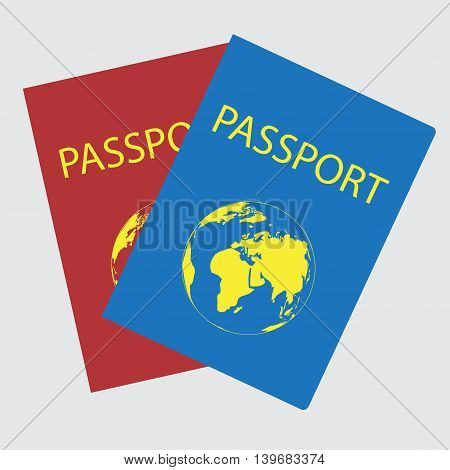 Passports with world map. Passport for travel vector passport page and illustration identification document
