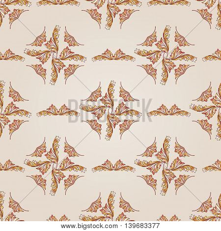 Floral pattern of brown henna on the beige background