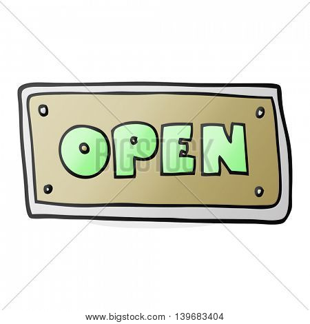 freehand drawn cartoon open sign