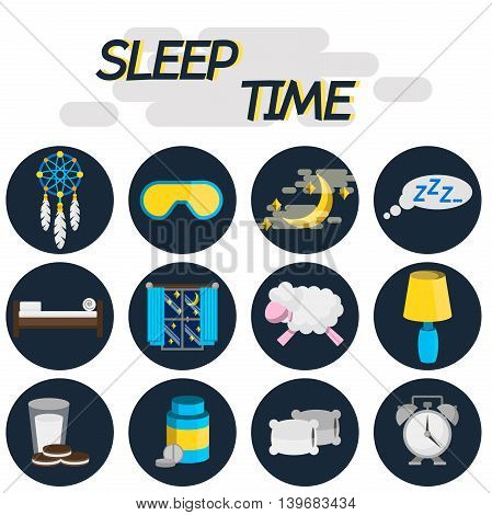 Sleep time flat icon set. Vector illustration, EPS 10
