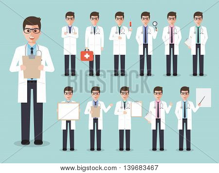Group of male doctors medical staffs. Flat design people characters.