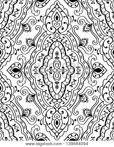 Oriental abstract ornament. Templates for carpet textile shawl and any surface. Seamless vector pattern of black contours on a white background.