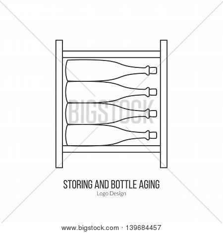 Wine storage cellar with wine bottles. Single logo in modern thin line style isolated on white background. Outline winery symbol. Simple mono linear pictogram. Stroke vector logotype template.