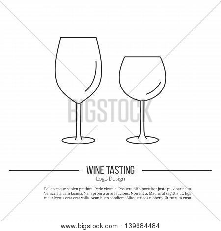 Wineglasses. Single logo in modern thin line style isolated on white background. Outline winery symbol. Simple mono linear pictogram. Stroke vector logotype template.