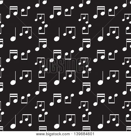 Music notes white seamless pattern. Music design art vector and illustration monochrome background