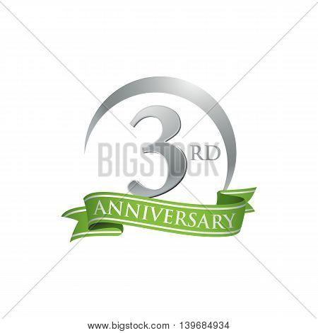 3rd anniversary green logo template. Creative design. Business success