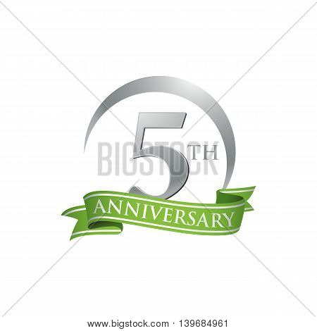5th anniversary green logo template. Creative design. Business success