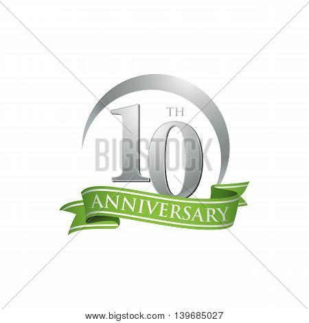 10th anniversary green logo template. Creative design. Business success