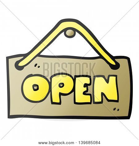 freehand drawn cartoon open shop sign
