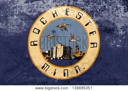 Flag Of Rochester, Minnesota, Usa, With A Vintage And Old Look