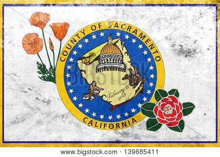 Flag Of Sacramento County, California, Usa, With A Vintage And O