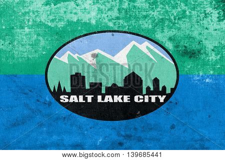 Flag Of Salt Lake City, Utah, Usa, With A Vintage And Old Look