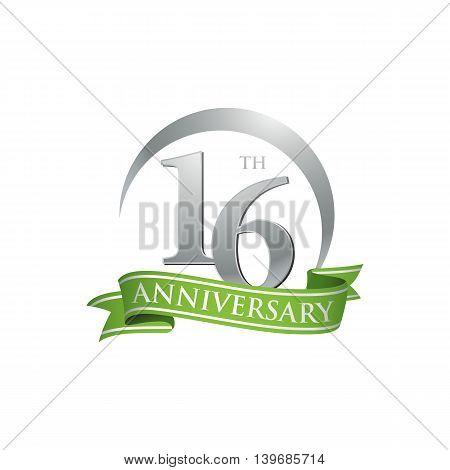16th anniversary green logo template. Creative design. Business success