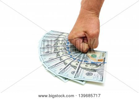 man's hand and dollars on a white background. horizontal photo.