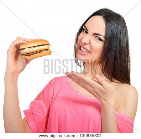 Young woman with fast food. Unhealthy eating.