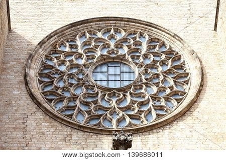 Rose window on facade of gothic church Santa Maria del Mar Barcelona Spain