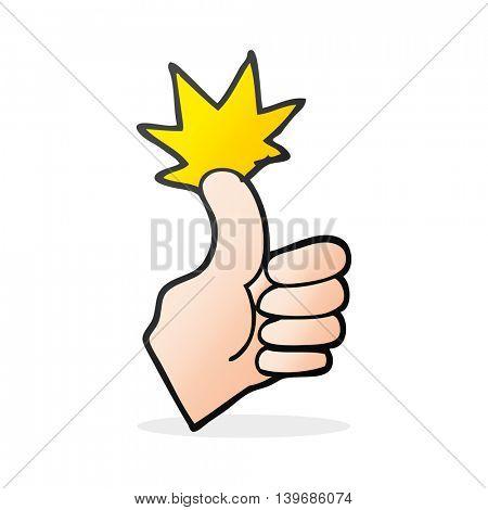 freehand drawn cartoon thumbs up