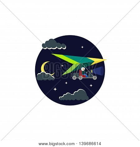 Motor glider in the night sky. Icon in a flat style for your design.