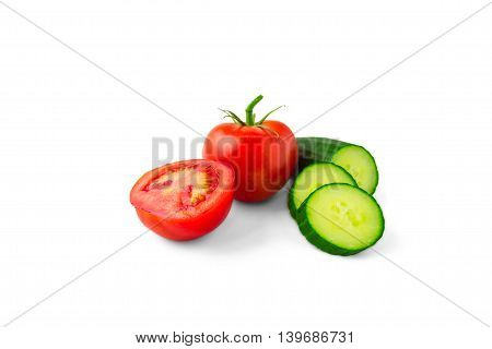tomatoes, cucumbers, isolated on white background, food, healthy, eating, bright