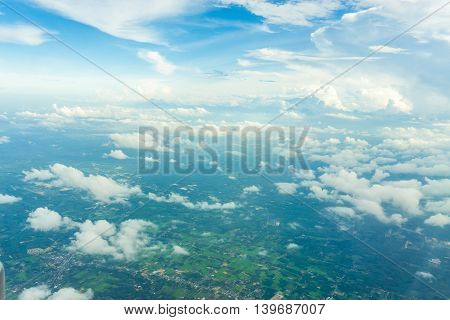 Blue Sky With Clouds And Territories With Tree