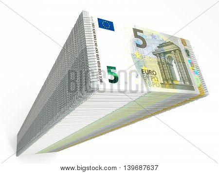 Stack Of Banknotes. Five Euros.
