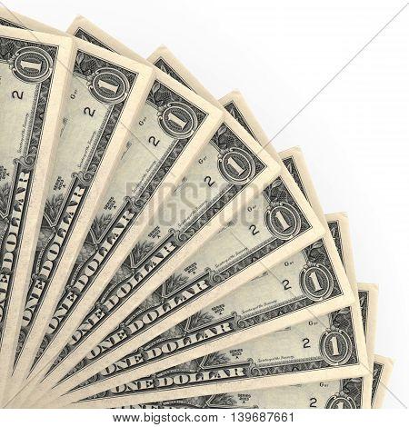 Money fan on white background. One dollar. 3D illustration.