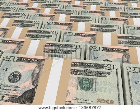 Stacks Of Money. Twenty Dollars.