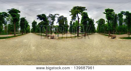 360 panorama of Central Park (Parcul Central) on a cloudy day in Cluj-Napoca, Romania