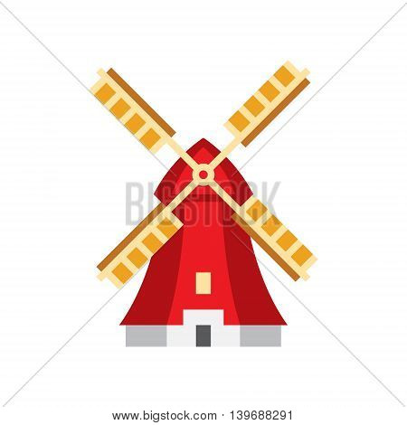Holandaise Windmill Flat Bright Color Primitive Drawn Vector Icon Isolated On White Background