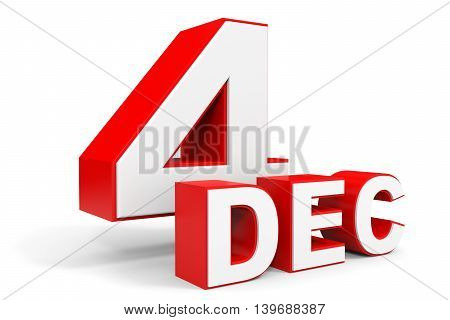December 4. 3D Text On White Background.