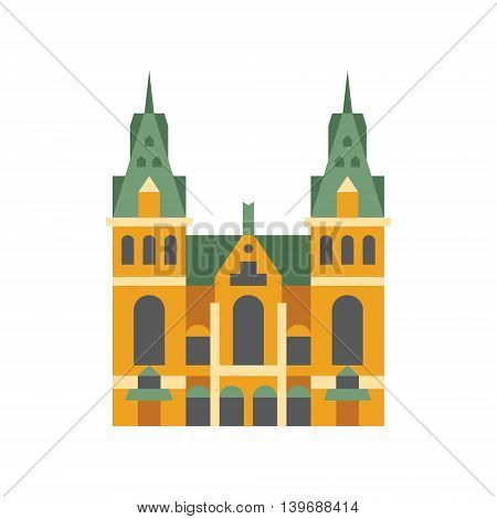 Holandaise City Hall Building Flat Bright Color Primitive Drawn Vector Icon Isolated On White Background