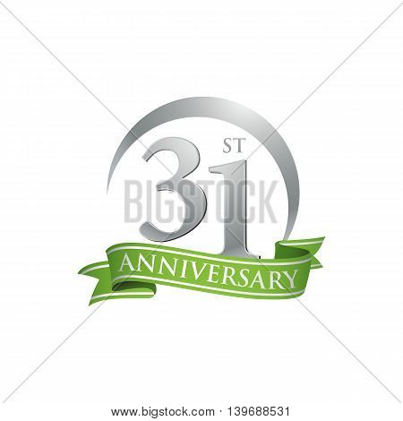 31st anniversary green logo template. Creative design. Business success
