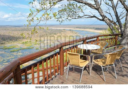 Beautiful river view from camping restaurant in Kruger national park, safari in South Africa