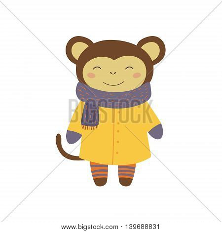 Girl Monkey In Yellow Warm Coat Adorable Cartoon Character. Stylized Simple Flat Vector Colorful Drawing On White Background.