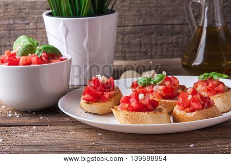 Bruschetta With Tomato, Onion And Basil