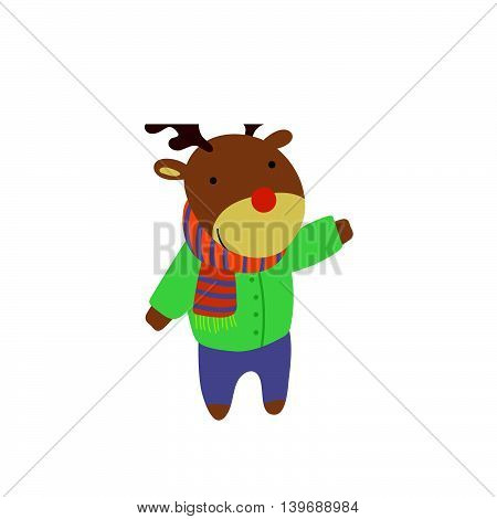 Deer In Green Warm Coat Adorable Cartoon Character. Stylized Simple Flat Vector Colorful Drawing On White Background.