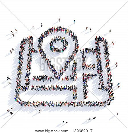 Large and creative group of people gathered together in the shape of a map pointer . 3D illustration, isolated against a white background. 3D-rendering.