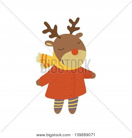 Girl Deer In Red Warm Coat Adorable Cartoon Character. Stylized Simple Flat Vector Colorful Drawing On White Background.