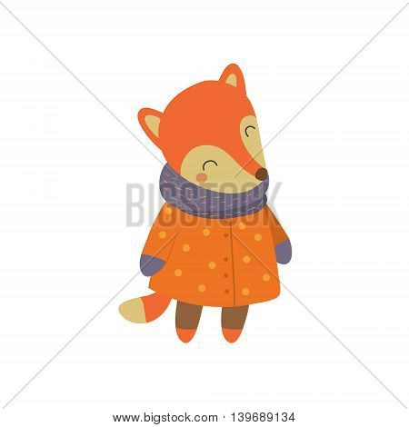 Girl Fox In Orange Warm Coat Adorable Cartoon Character. Stylized Simple Flat Vector Colorful Drawing On White Background.