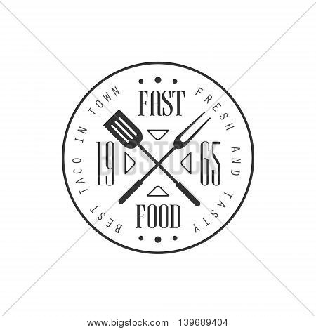 Fast Food Round Logo Graphic Design. Black And White Emblem Vector Print