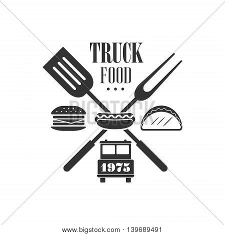 Food Truck Logo Graphic Design. Black And White Emblem Vector Print