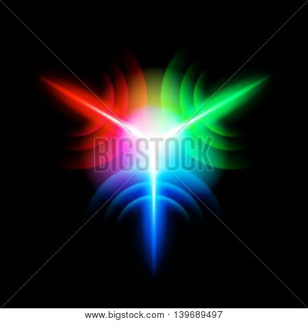 Multicolour digital star with three tips on the black background
