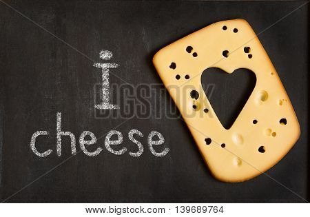 Cheese Chalkboard bunner with cheese heart shape.