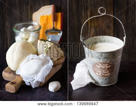 Fresh farm dairy products and bucket of milk. Rustic style. Collage.