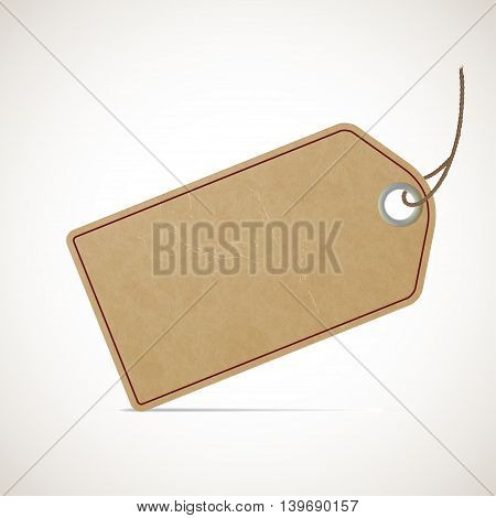 Cardboard vintage price tag in retro style. Stock vector illustration.