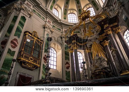 Golden, Impressive Decorated Altar of Jesuitenkirche, Mannheim Germany