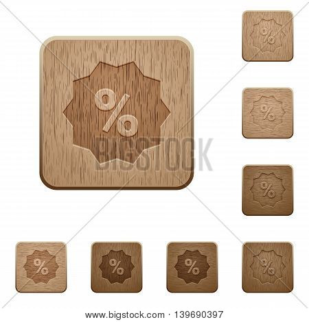 Set of carved wooden discount buttons in 8 variations.