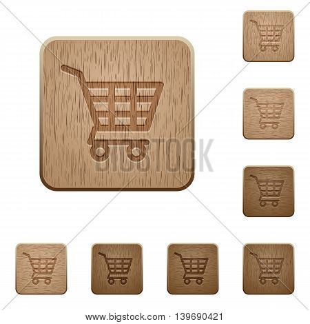 Set of carved wooden Shopping cart buttons in 8 variations.