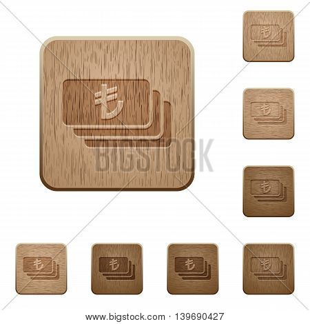 Set of carved wooden Turkish Lira banknotes buttons in 8 variations.