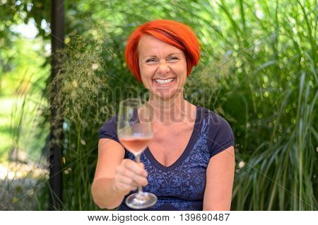 Attractive Happy Woman Toasting With Champagne